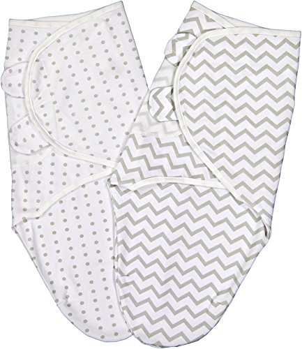 Elys & Co. Swaddle Blanket Adjustable Infant Baby Wrap Set 2 Pack Grey Chevron and Polka Dots (3-6 Months)