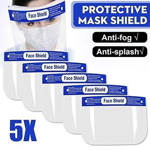 Schutzmaske für das gesamte Gesicht, aus Kunststoff, wiederverwendbar, mit breitem Visier, 5 Stück