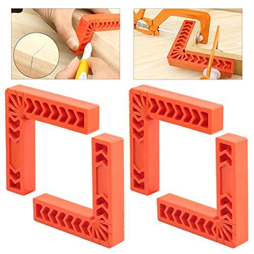 Glarks 4 Stück 150 mm 90 Grad Positionierwinkel, rechtwinklige Eckklemmen für Holzarbeiten, Bilderrahmen, Boxen, Schränke oder Schubladen, L-Typ, rechtwinkliges Lineal, Tischlerwerkzeug (150 mm)