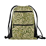 Larkspur Pattern Green Drawstring Bag, Swimming Bags For Kids, Drawstring Backpack Gym Bag for School, PE Kit, Swimming, Sport, Camouflage Gym Bag for Children or Adults, Great Gift For Teens