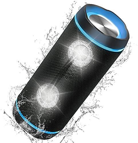 Portable Bluetooth Speakers, 40W (70W Peak) Wireless 3D Bass Sound Bluetooth Speaker with Party Light, 40H IP67 Waterproof Outdoor Speaker with Power Bank, Built-in mic, Dustproof, Aux in Model