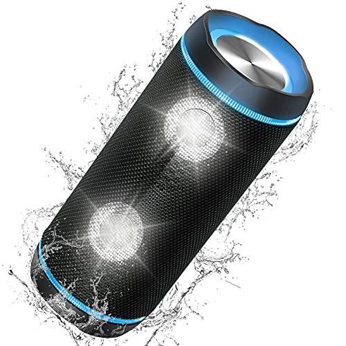 Altavoces Bluetooth 40W Portatiles, Parlante resistente al agua (IP67), Sonido Estéreo TWS, luz LED, Speaker Bluetooth 5.0 y Manos Libres,hasta 10h de reproducción,para Camping,Viajes, Fiesta