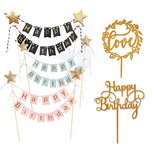 3 PCS Happy Birthday Cake Topper Bunting Banner, Cake Topper Garland Pennant Flags Happy Birthday Party Cake Decorations with 2 Acrylic Cake Toppers for Boys Girls