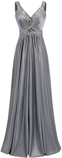 Long Gowns Prom Evening Bridesmaid Dress Women's Fashion V-Neck Sleeveless Waist Dress (Color : Gray, Size : US16)
