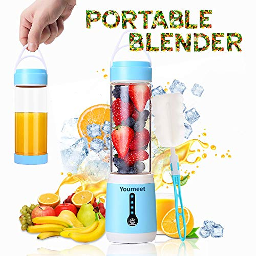Portable Blender,Youmeet 16oz Personal Blender Cup,100W Low Noise Mini Blender,4 LED Power Indicator Lights Portable Juicer,USB Rechargeable Bottle Blenders with Cup Lid and Brush for Shakes Smoothies Fruits Veggies Ice Home Office Sports Travel