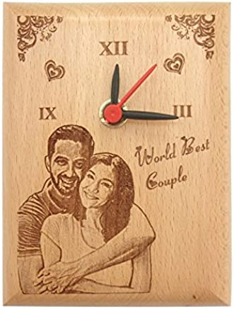 Presto Wood Photo Clock By Engraving Process, 5X4-inch (Wooden)