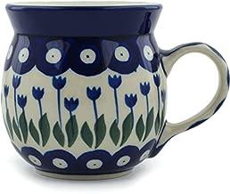 Polish Pottery Coffee Mug Bubble 8 oz Blue Tulip Peacock