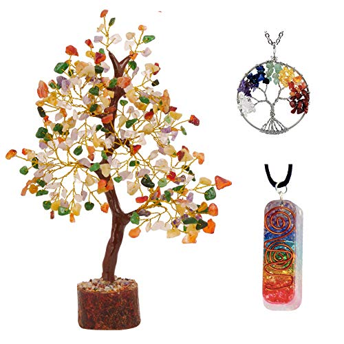 YATSKIA Mix Chakra Good Fortune Buddha Tree of Life Necklace Onyx Gift Reiki Energy Healing Feng Shui Sculpture Beaded Bonsai Luck Money Crystal Jewelry Buddhist Gifts for Home Office Desk Décor