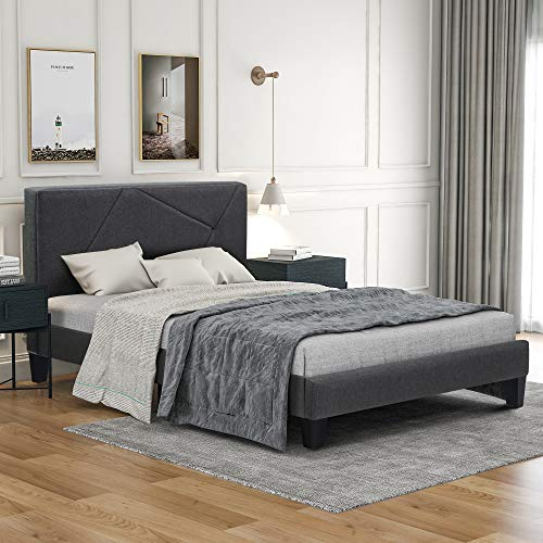 Cama tapizada de 90 x 200 cm con somier de láminas, espacio de almacenamiento, cama tapizada con cabecero, para dormitorio, adultos y adolescentes