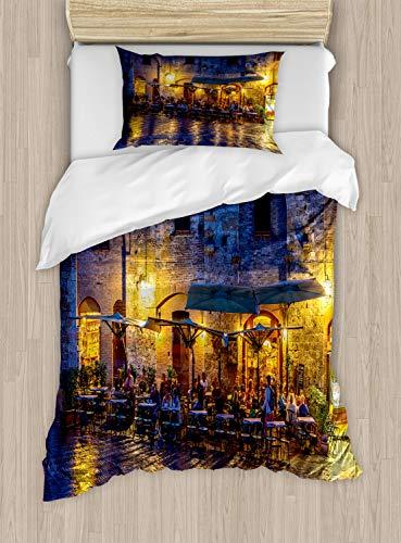 ABAKUHAUS Stad Oude Huizen Dekbedovertrekset, Night View Italië, Decoratieve 2-delige Bedset met 1 siersloop, 130 cm x 200 cm, Blauw Geel Oranje