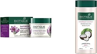 Biotique Bio Saffron Dew Youthful Nourishing Day Cream For All Skin Types, 50G & Biotique Bio Creamy Coconut Ultra-Rich Bo...