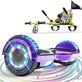 GeekMe Hoverboards con Asiento,,Hoverkart para Hoverboards, Hoverboards con Hermosas Luces LED, Patinetes con Altavoz Bluetooth, Regalo para niños.