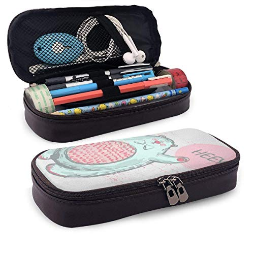 Polar Bear with Word Hey Pink Cheeks Leather Pencil Case with Zipper,PU Leather Pencil Holder Pen Case Pouch