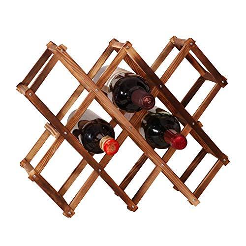 Z&HAO Estantería De Vino Plegable, Estante De Vino De Pie, 10 Ranuras para Botellas De Vino, Estante De Vino De Madera En La Encimera para Los Gabinetes De La Cocina del Hogar Organizador De Vino