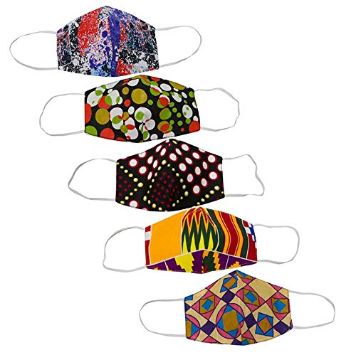 AFRICSTYLE 5/10 Pcs Funky African Print Cloth Facemask Cotton Ankara Facemask with Earloop (Color One-5pcs)