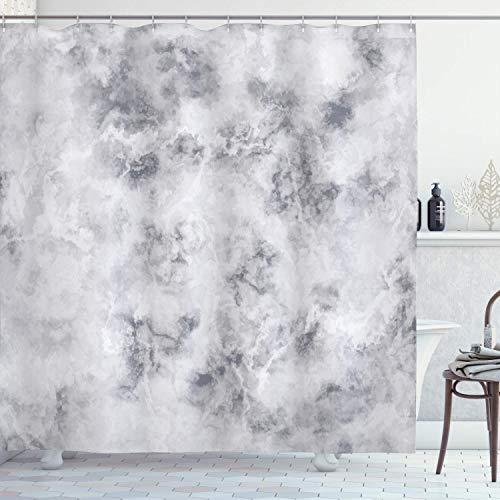 N\A Marmor-Duschvorhang, Granit-Oberflächenmuster mit stürmischen Details Natürlicher Mineralformationsdruck, Stoff-Stoff-Badezimmer-Dekor-Set mit Haken, Hellgrau