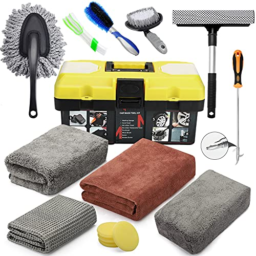 MOFEEZ Car Wash Cleaning Tools Kit Car Detailing Set with Absorbent Towels Dash Duster Tire Wheel Brushes Window Squeegee Air Conditioner Brush Waxing Sponge £¨15pcs£