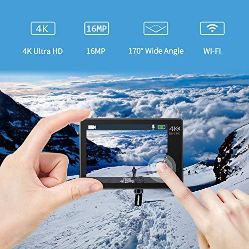 Campark X15 4K Action Cam Touchscreen EIS Stabilisierung WiFi wasserdichte Unterwasserkamera 30m Helmkamera 16MP mit 170 ° Ultra-Weitwinkel und viel Zubehör Kompatibel mit gopro - 2