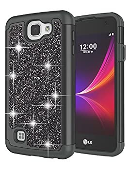 Jeylly Case Compatible with LG Rebel LTE/Optimus Zone 3 / Spree / K4 for Girls Glitter Luxury Crystal Dual Layer Shockproof Hard PC Soft TPU Inner Protector Case Cover for K4 - Black