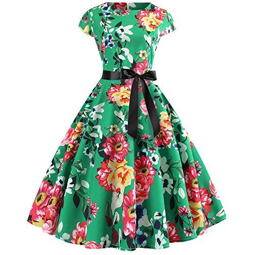 K-youth Años 50 Hepburn Vintage Swing Vestidos De Fiesta Mujer Elegantes Vestido para Mujer Sexy Casual Vestidos de Mujer Cóctel Playa Evening Prom Ceremonia de Boda(Verde, XXL)