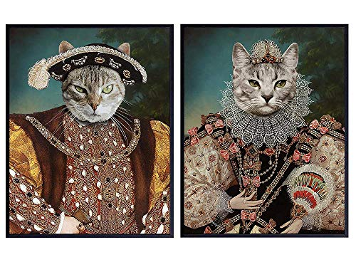 Medieval Renaissance Cats Wall Art Set - Cat Wall Decor - Cat Lover Gifts for Women - Cat Poster - Kitty Cat Decorations - Cute Kitten Decor - 8x10 Unique Cat Funny Art Prints