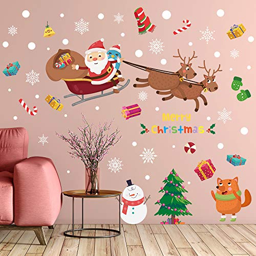 Supzone Christmas Wall Stickers Santa Claus Elk Wall Decals Removable Vinyl DIY Snowman Wall Decor Christmas Party Window Playroom Bedroom Classroom Living Room