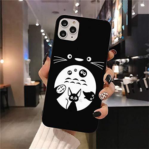 QY-Youth Totoro Teléfono Funda para iPhone 12 Pro MAX Mini 11 Pro XS MAX 8 7 6 6S Plus X 5S SE 2020 XR Funda,A,iPhone 7/8 Plus
