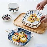 FKZX Plato de cerámica de Estilo japonés Creativo con asa, vajilla Resistente al Calor, un Conjunto de Cuatro Placas de Cena Irregulares A Set -#4
