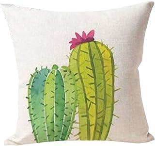Funda de cojín, diseño con estampado de cactus, de lino