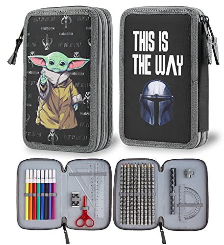 Disney The Mandalorian Estuche Escolar De 2 Compartimentos Baby Yoda, Material Escolar Completo, Estuche Chulo Para Niños De Star Wars