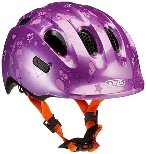ABUS Smiley 2.0 Kinderhelm - Robuster Fahrradhelm für Mädchen und Jungs - 72569 - Lila mit Eulenmuster, Größe M