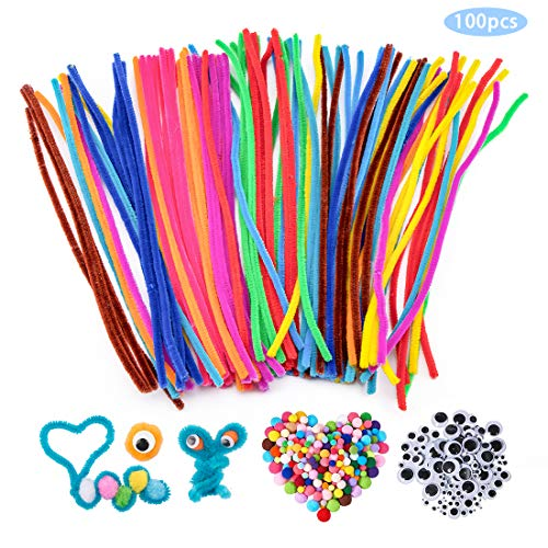 SenPuSi Pipe Cleaners Crafts Set, Limpiapipas Chenille Stem y Pompones con Googly Wiggle Eyes y Craft Sticks para Manualidades Accesorios de Bricolaje para Juguetes Educativos,Creación de Bricolaje