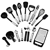 Shoze Kitchen Utensil Set 24PCS Silicone Cooking Utensils for Cooking,Black and Brushed Stainless