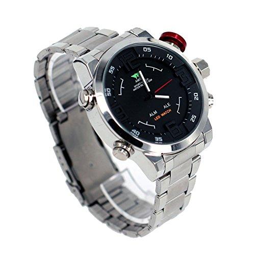 Männer Luxusmarke AMST Männer Quarz LED Digitaluhr Man Armee Militär Sport Armbanduhr Relogio Masculino (Silber)