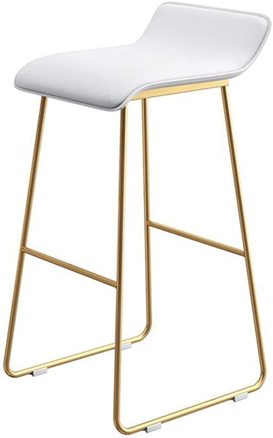 LLYU Nordic bar Stool Leisure Home Kitchen Breakfast Stool Modern Minimalist Creative Wrought Iron bar Chair Coffee high Stool (color   White, Size   75CM)