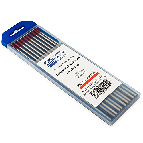 TIG Welding Tungsten Electrodes 2% Thoriated (Red, WT20) 10-Pack (1/8)