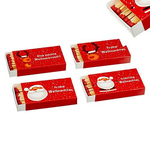 jameitop®🔥 Streichholzschachteln 4 X 50er Packungen 10cm mit Weihnachts / X-Mas Design Streichhölzer Zündhölzer 🔥