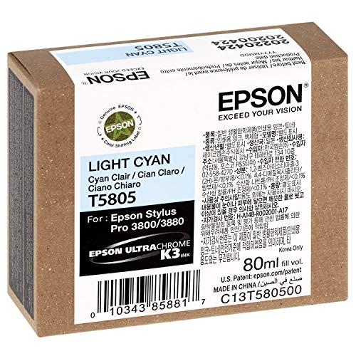 Epson T5805 - Cartucho de tinta para impresora 3800/3880, color cian claro, 80 ml