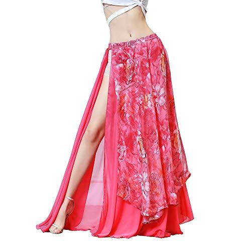 ROYAL SMEELA Bauchtanz Rock Damen Bauchtanz Kostüm Flamenco Langer Rock Blumen Chiffon Big Swing Röcke Dehnbare elastische Taille Sexy Schlitz Stammes Langer Rock Maxi Kleid