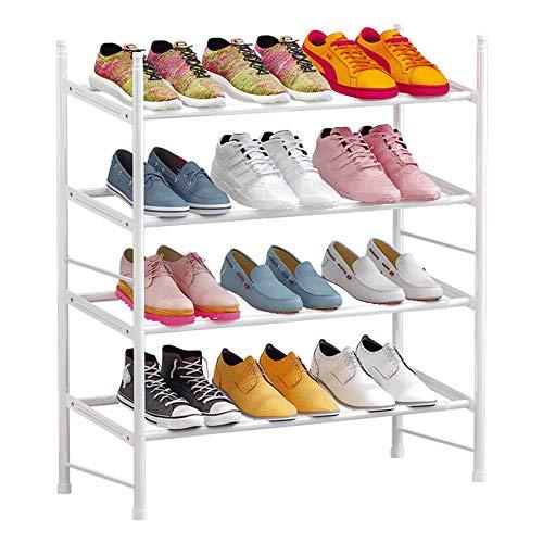 IBEQUEM Zapatero con 4 niveles, color gris plateado, apilable y ajustable, para salón, vestidor, ancho (60-110) x alto 50 x profundidad 30 cm (blanco)