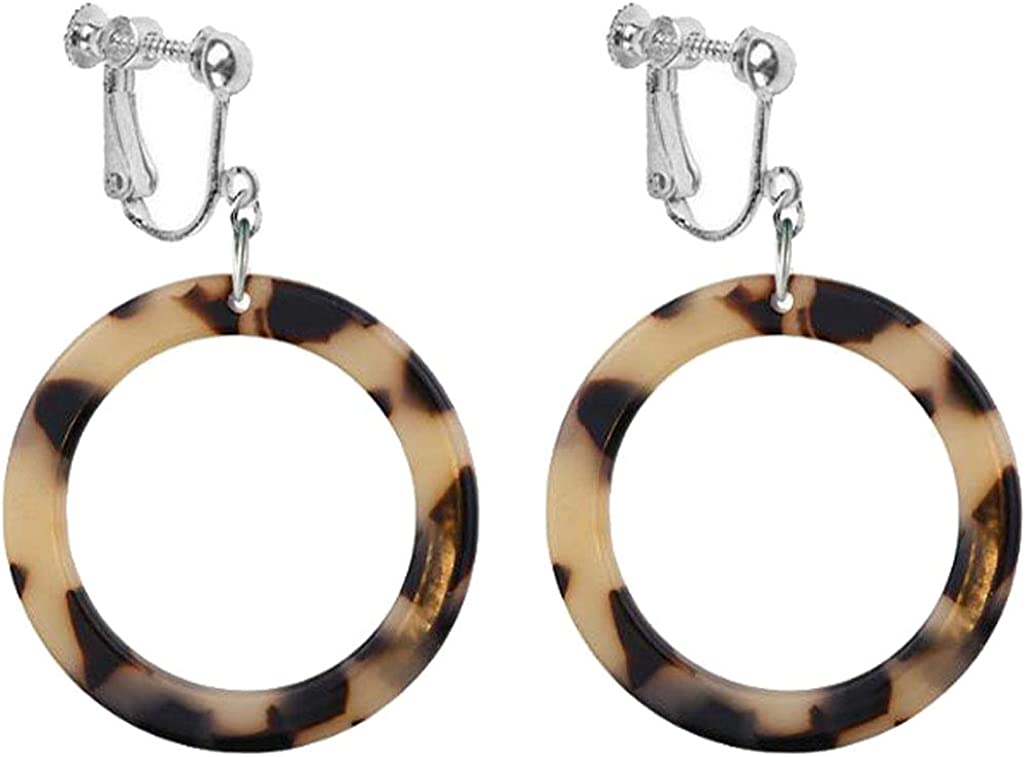 Sweet Women Girl Acrylic Statement Clip on Earrings Leopard Big Round Circle Geometric Dangle