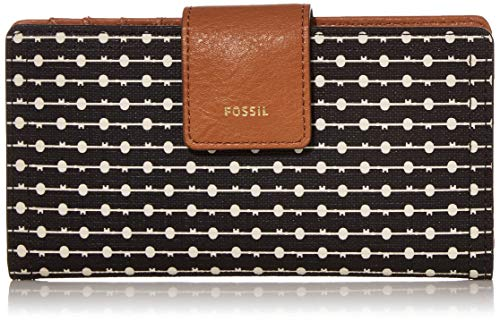 Fossil Women's Logan Faux Leather RFID Tab Clutch Wallet, Black Stripe
