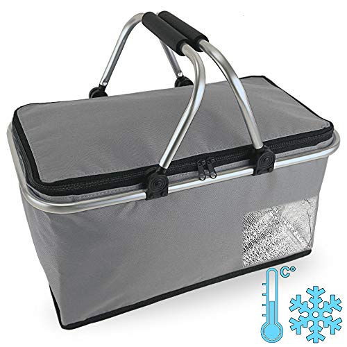 Cepewa Einkaufskorb faltbar mit Thermofunktion 30 L Kühltasche Thermokorb Picknickkorb Isoliertasche (grau mit Thermofunktion)