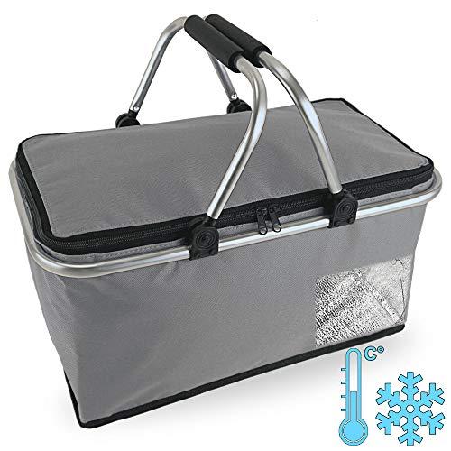 Cepewa Cesta de la compra plegable con función térmica, 30 L, bolsa isotérmica, cesta de pícnic, bolsa aislante (gris con función térmica)