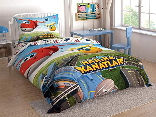 TAC Super Wings Licenced Ranforce - Set di biancheria da letto per letto singolo, 2 pezzi, 3 pezzi, 100 cotone