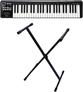 Roland A-49-BK A-49 49-key MIDI Keyboard Controller Black with Gator Cases Rok-it X-Style keyboard Stand