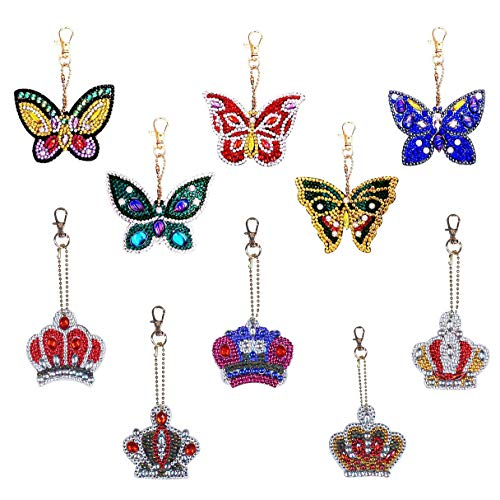 10 Pack Key Chains Diamond Painting for Adults and Kids, Full Drill 5D Diamond Painting Pendant Ornaments by Numbers Kits for Art Craft, Key Ring, Phone Charm, Bag Décor, Butterfly and Crown, 2 Styles