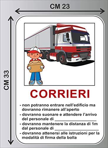 CM 23X33 Cartello adesivo REGOLE INGRESSO PER CORRIERI SCARICO PACCHI corona emergenza COVID-19 - PVC ADESIVO cod. 1397