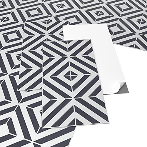 ARTENS - PVC Bodenbelag - Selbstklebende Fliesen - Geometrischer Fliesen-Effekt - Schwarz/Weiß - 2.23m² / 12 Fliesen