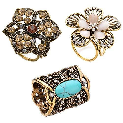 Joyci Vintage Retro 3 Set Scarf Ring Buckle Diamante Metallic Turquoise Slide Tube Flower Three-Ring DIY Silk Scarves Clip (L)